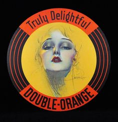 Double Orange Soda advertising sign by Rolf Armstrong, 1930s