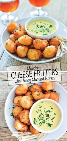 Manchego Cheese Fritters with Honey Mustard Ranch are the perfect appetizer recipe for any party occasion! | www.cookingandbeer.com