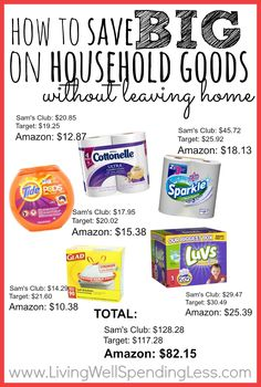 Want to know how to save big on things like toilet paper, paper towels, laundry detergent, and even diapers?  Don't miss this post for great tips & tricks on saving big on household goods through Amazon Mom and Subscribe & Save.  Includes 12 of the best deals you can find (as well as some tips for what to avoid!)