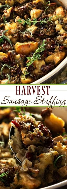 Harvest Sausage Stuffing with Pecans and Cranberries - The Chunky Chef Stuffing Recipes For Thanksgiving, Thanksgiving Side Dishes, Italian Thanksgiving, Thanksgiving Meal, Sage Sausage, Sausage Stuffing, Turkey Stuffing, Fall Recipes, Holiday Recipes
