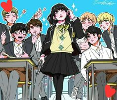 6 Bangtan boys fall in love with genderbent Yoongi,whos name is Yoonji.She is actually the daughter of Chief Min and will shoot you with the gun in her backpack if you wake her up from precious sleep -