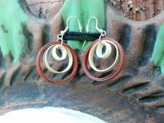 Paper Quilled Earrings Triple Circle - Shades of Brown - quilling jewelry, quilling earrings, paper earrings, eco friendly, paper jewelry