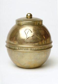 Brass tea caddy, Liptons, 1924
