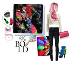 """""""Always be BOLD"""" by tattooedmum ❤ liked on Polyvore featuring Wet Seal, Off-White, Alexa Starr, Urban Decay, PaintGlow, Versace, unicorn, neoncolors and gigiclock"""