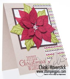 Christmas Card: Poinsettia #1 October 11th, 2013 | Joyful Christmas Stamp set; Cherry Cobbler, Old Olive, Early Espresso & Crumb Cake inks and cardtocks; Season of Style DSP; Pretty Print TIEF; Basic Pearls.