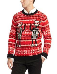Amazon.com: Alex Stevens Men's Robot Ugly Christmas Sweater, Black Tie, Small: Clothing