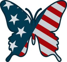 Butterfly Crafts, Blue Butterfly, American Flag, American Decor, Bumper Stickers, Car Decals, Flag Art, Wood Burning Patterns, Sticker Design