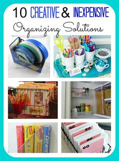 Here's a roundup 10 Creative & Inexpensive Organizing ideas. You'll be amazed at what you can repurpose to  organze your home instead of spending tons of money for storage containers!