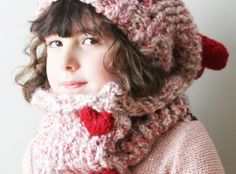 DIY Knitting PATTERN - Chunky Slouchy Heart Hat and Cowl in Toddler, Child and Adult Sizes (hat024)