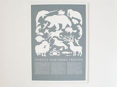 Large Print Grey Arctic Animals Poster от Banquet на Etsy