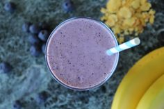 lupin berri-nana smoothie, banana and blueberries; high-protein and fibre-filled; dairy free with coconut yoghurt. Dairy Free, Gluten Free, Baby Steps, Eating Habits, Blueberries, High Protein, Flakes, Smoothie, Healthy Eating
