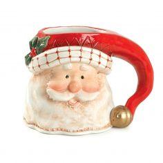Fitz and Floyd Christmas Mugs - Santa Mugs - Childrens Christmas Mugs Christmas Plates, Christmas Tablescapes, Christmas Holidays, Christmas Decorations, Christmas Ornaments, Christmas Ideas, Merry Christmas Typography, Santa Mugs, Santa Pictures