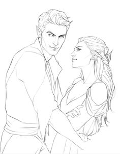 Need this in color! Feyre and Rhysand by merwild. ACOMAF Sarah J Maas fan art