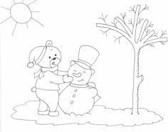 mackó és hóember rajz, drawing  bear and snowman, coloring page, színező