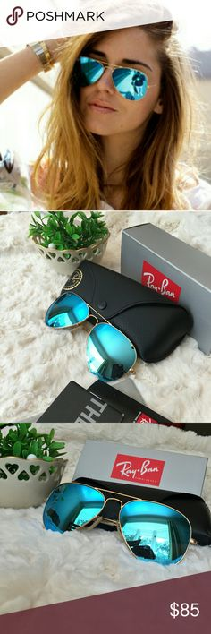 Ray Ban Aviator in Blue Flash RB3025 Authentic New 😍️️All my item are 100% Authentic / Real Ray ban ❤️Brand new never used   ❤️️Ray Ban Aviator RB3025 lens size 58MM  ❤️made in Italy  ❤️Frame color Gold  ❤️come with case,cloth, booklet and box.    💕Feel free to ask any question💕 💚FAST SHIPPING and PACKAGE WITH LOVE💚 Ray-Ban Accessories Glasses