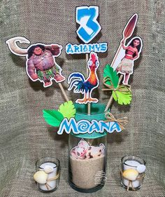 Centerpieces for party of moana Moans Birthday Party, 5th Birthday Party Ideas, Moana Birthday, Luau Birthday, Luau Party, Birthday Party Decorations, Party Themes, Moana Party Invitations, Moana Centerpieces