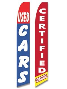 Used Cars Flag Windless Swooper 2 Lot Set Certified Pre Owned Auto Sales Red #CarLotPromotions