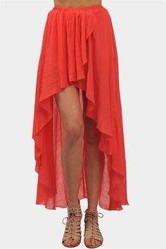 bright coral high-low skirt