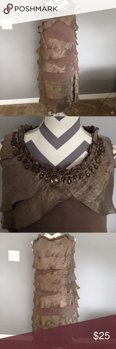 """Ruffled semi formal dress by Dress Barn SZ 14 EUC Beautiful dressy dress size 14 70% Rayon 19% Polyester 11% Nylon Layers of gold and brown Ruffled with beaded neckline and side Zipper 21"""" armpit to armpit Length is 41"""" Like New Dress Barn Dresses"""