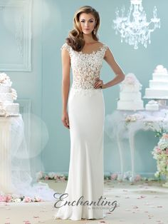 051ecede2712 Check out the deal on Enchanting by Mon Cheri 215100 Sheer Lace Destination  Wedding Dress at