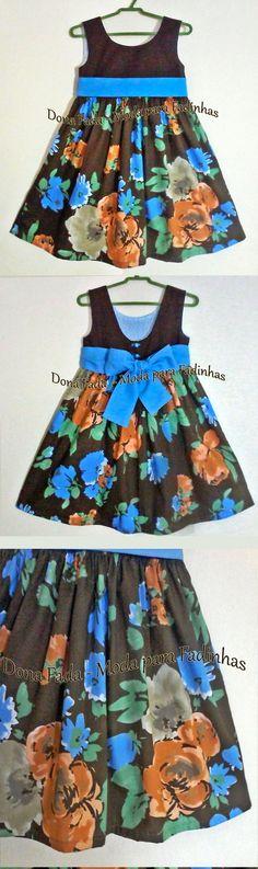 Vestido Floral Marrom e Azul - 3 anos_______________baby - infant - toddler - kids - clothes for girls - - - https://www.facebook.com/dona.fada.moda.para.fadinhas/