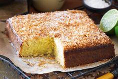 Fresh limes and coconut are the heroes in this tropical-tasting cake. Have to love a cake that is prepared in the food processor. Lime Recipes, Easy Cake Recipes, Baking Recipes, Dessert Recipes, Fast Recipes, Sweet Recipes, Yummy Recipes, Recipies, Lime And Coconut Cake Recipe