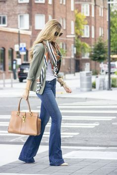 Fall fashion: Olive jacket, orange combo scarf, white t-shirt, flared boot-cut jean