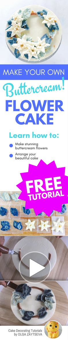 How to make Buttercream Poinsettia Christmas cake - Cake decorating tutorial by Olga Zaytseva. Learn how to make buttercream poinsettia and create this Christmas wreath cake in blue. Rose Icing, Buttercream Flower Cake, Cake Pop Tutorial, Butter Icing, Flower Food, Cake Trends, Rose Cake, Cake Decorating Tutorials, Cake Art