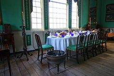 The large dining room at George Washington's home in Mount Vernon, Virginia.
