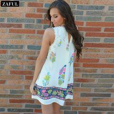 Aliexpress.com : Buy ZAFUL 2015 New Style Women's Print Mini Dress Stylish Cute Lace Spliced Round Neck Sleeveless White Summer Dress Size S XL from Reliable dress cocktail dress suppliers on ZAFUL   Alibaba Group