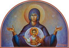 """Πλατυτέρα των Ουρανών. / Theotokos """"Platytera"""" (Our Lady of the Sign). Church Interior, Byzantine Icons, Orthodox Christianity, Sacred Art, Virgin Mary, Our Lady, Little Sisters, Spirituality, Princess Zelda"""