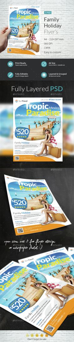 Family Holiday A4 Flyer Template PSD. Download here: http://graphicriver.net/item/family-holiday-a4-flyer-template/15002548?s_rank=95&ref=yinkira