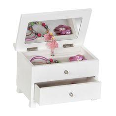 Mele & Co. Emmy Girl's Wooden Musical Ballerina Jewelry Box in White