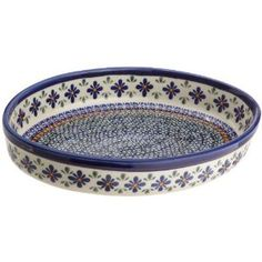 Bunzlauer Polish Pottery 1.75-Quart Oval Baker, DU60 Design. This Bunzlauer DU60 1.75-Quart Oval Baker by EuroQuest, is 12 inch long, 9 inch wide and 2 inch high. It has a lovely design in shades of blue, white and orange. This beautiful piece represents EuroQuest's dedication to fine design, superior materials and quality construction. EuroQuest's selection of Polish pottery represents the very best of the 200-year old Bunzlauer tradition from Boleslawiec, Poland. EuroQuest deals directly…