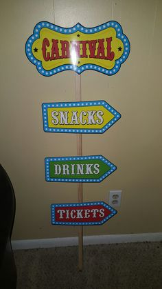 Carnival signs purchased from Hobby Lobby and stake purchased from Home Depot.