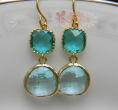 Sea Glass Green Aquamarine Earrings Trimmed in by Greenperidot, $26.50 Love :)