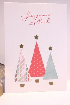 carte noel  miminesenfolie Homemade Christmas Cards, Christmas Tree Cards, Christmas Gift Tags, Christmas Crafts For Kids, Christmas Birthday, Xmas Cards, Homemade Cards, Handmade Christmas, Card Making Inspiration