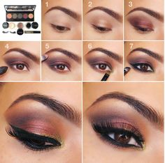 Easy Step By Step Eye Makeup Tutorial: Gold to Purple Smokey Eye