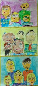 Family Portraits.   2nd grade.   Watercolor.