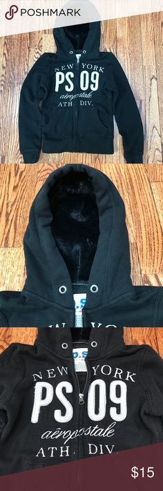 "Girls size 7 PS Aero hoodie Great condition. Super soft and warm girls hoodie. The inside of the hood has plush black ""fur"".  Perfect for layering or as a jacket on a chilly day. Shirts & Tops Sweatshirts & Hoodies"