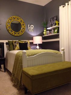 love the color scheme dark grey walls, light gray and lime green