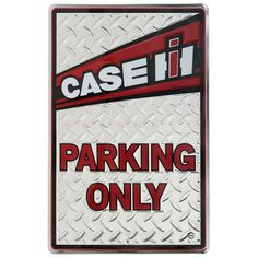 """Case IH Parking Only Sign - ShopCaseIH.com Only Case IH and Red Power fans can park here! This decorative diamond-plated is decorated with a white Case IH graphic. Metal sign measures 18""""H x 12""""W. #CaseIH Tractor Birthday, 90th Birthday, Birthday Gifts, Case Tractors, Old Tractors, Farm Bedroom, Classic Tractor, Case Ih, Down On The Farm"""