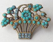 Turquoise and Rhinestone Flower Basket Pin - Gold and Turquoise - CHARMING!!
