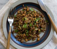 Five-Ingredient Fall Salads: Roasted Chickpea Wheatberry and Cilantro Salad. Toss chickpeas with olive oil and a liberal dose of Garam Masala, then pop them in a 400-degree oven for 15-20 minutes. Mix the roasted chickpeas with wheat berries, slivered red onion, fresh cilantro and toasted pumpkin seeds. For the dressing: mix pumpkin oil, lime juice, crushed fennel seeds and sea salt.  #SelfMagazine