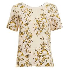 VILA Women's Corabell Short Sleeve Blouse - Sandshell ($35) ❤ liked on Polyvore featuring tops, blouses, beige, floral top, beige blouse, short-sleeve shirt, floral shirt and rayon blouse