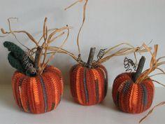 Crocheted Pumpkins Fall Decor Autumn Decorations Orange Woolsey Set of Three