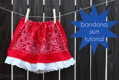 Bandana Skirt Tutorial Girls Bandana Skirt Tutorial - Perfect for a of July outfit or every day cuteness!Girls Bandana Skirt Tutorial - Perfect for a of July outfit or every day cuteness! Bandana Skirt, Bandana Outfit, Sewing For Kids, Baby Sewing, Sewing Clothes, Doll Clothes, How To Make Skirt, Diy Kleidung, Kids Fashion