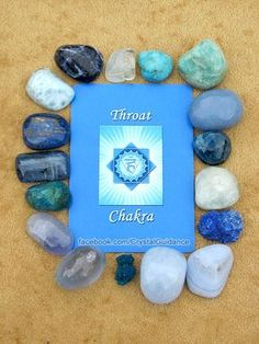 (listed clockwise starting with the upper right hand corner): Blue Blue Blue Turquoise. This is by no means all of the Throat chakra crystals. Crystals Minerals, Gems And Minerals, Crystals And Gemstones, Stones And Crystals, Gem Stones, Blue Crystals, Throat Chakra Crystals, Chakra Stones, Blue Calcite