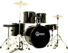 New Drum Set Black 5-Piece Complete Full Size with Cymbals Stands Stool Sticks by Gammon Percussion. $184.97. There are lots of  reasons this drum set has been the BEST SELLER for years! The Gammon Battle Series is the perfect entry level drum set at the lowest price ever for a complete, adult/full size drum set complete with all cymbals, stands, hardware, stool heads and sticks! This Brand New FULL-SIZE Drum Set has everything you need to start playing right away: Lo...