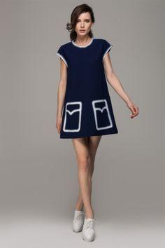 A-line dress in pockets print